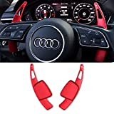 Steering Wheel Paddle Shifter Extensions For Audi, TTCR-II Aluminum-Alloy Shift Paddle Blades Compatible with Audi A3 A4 A5 A6 S3 S4 S5 SQ5 Q5 Q7 Q8 TT TTS (Red)