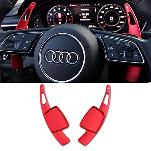 Steering Wheel Paddle Shifter Extensions For Audi, TTCR-II Aluminum-Alloy Shift Paddle Blades Compatible with Audi A3 A4 A5 S3 S4 S5 SQ5 Q5 Q7 Q8 TT TTS (Red)