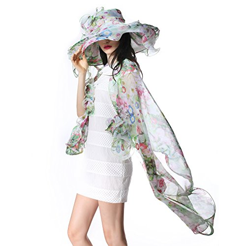 June's Young Women Hat Organza Sun Hat for Summer Fresh Color for Summer (Multi-color hat&shawl)