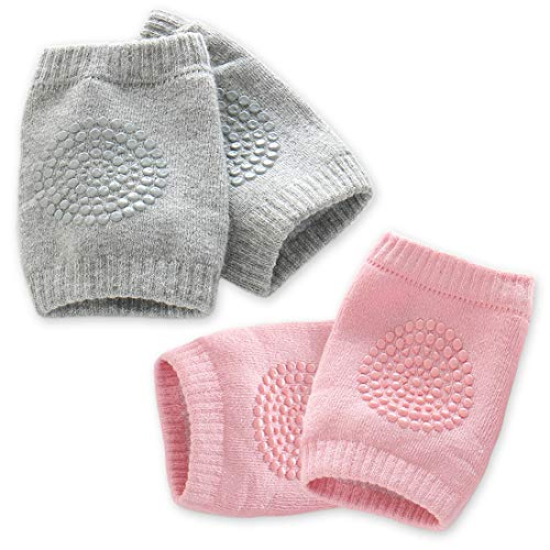 Kalevel Baby Crawling Knee Pads Anti Slip Knee Protectors Infant Crawling Elbow Knee Sleeve Cotton Knee Pads Toddler Knee Protector Pads Sleeve for Crawling Boys Girls (2 Pairs, Pink + Light Grey)