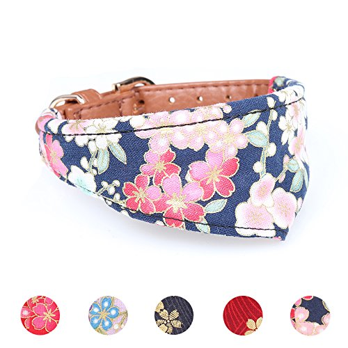 Leepets Pet Collar for Small Dog Puppy Cat with Adorable Bandana Durable PU Leather Padding Adjustable Buckle Recommend up to 12 lbs Pets (Adorable Dog Fashion)