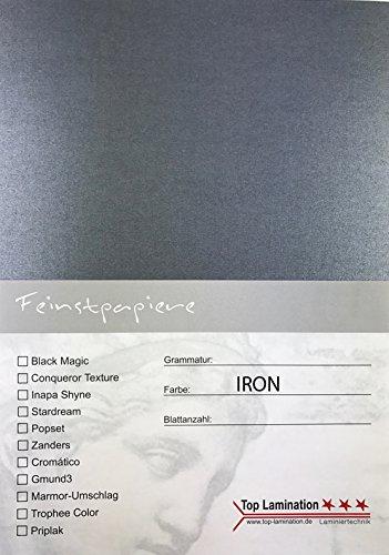 25 Blatt PU DIN A3 stahlgrau metallic (iron) Papier 290g/m² von Top Lamination - komplett durchgefärbt, für Einladungen, Einlegeblätter für Alben, Hochzeitskarten Fotoalbum Bastelarbeiten Karten für Einladungen