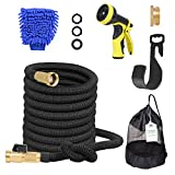 Adoric Life Flexible Expandable 50ft Garden Hose, 100% Latex Core Expanding Water Hose with Solid Brass Connectors, 9 Functions Spray Nozzle for Home, Garden, Car Washing & Heavy Duty