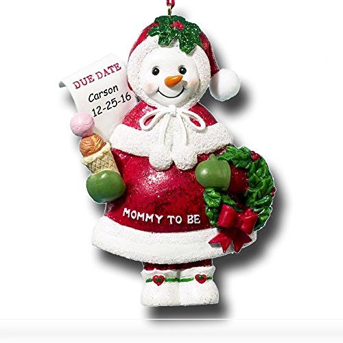 (Kurt Adler Personalized New Mommy to Be Snowman Snow Woman with Pregnant Baby Bump in Santa Claus Hat and Winter Mittens with Christmas Wreath Hanging Christmas Tree Ornament with Name and Due Date)