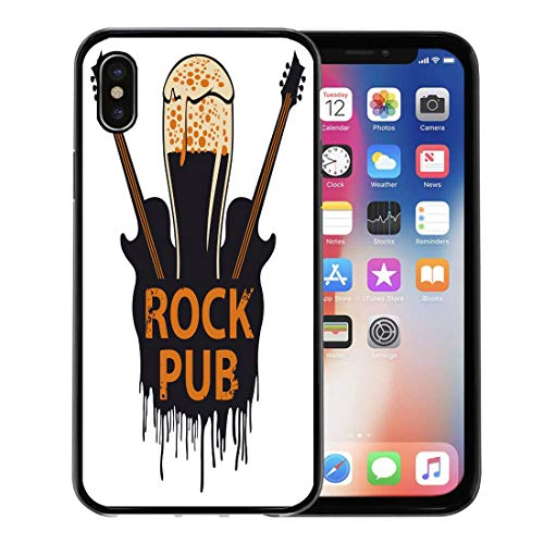 Ale Pub Glass (Emvency Phone Case for Apple iPhone Xs Case/iPhone X Case,Acoustic for The Pub Live Music Beer Glass Guitar Soft Rubber Border Decorative, Black)