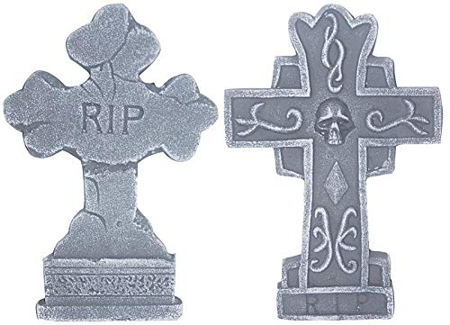 (Sunstar RIP Tombstone Halloween Decorations Home Decor Cross Headstone 14 Inch Stands Included, Set of)