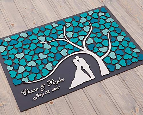 (3D Wedding Guest Book Alternative Idea Custom Tree Custom Wedding Guest Book Frame with Name & Date Love Signature Book Rustic Alternative Wedding Ideas Decor 40x50cm(16