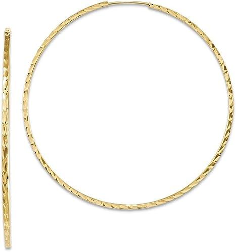 25mm 14k Yellow Gold Diamond-Cut Square Tube Hoop Earrings