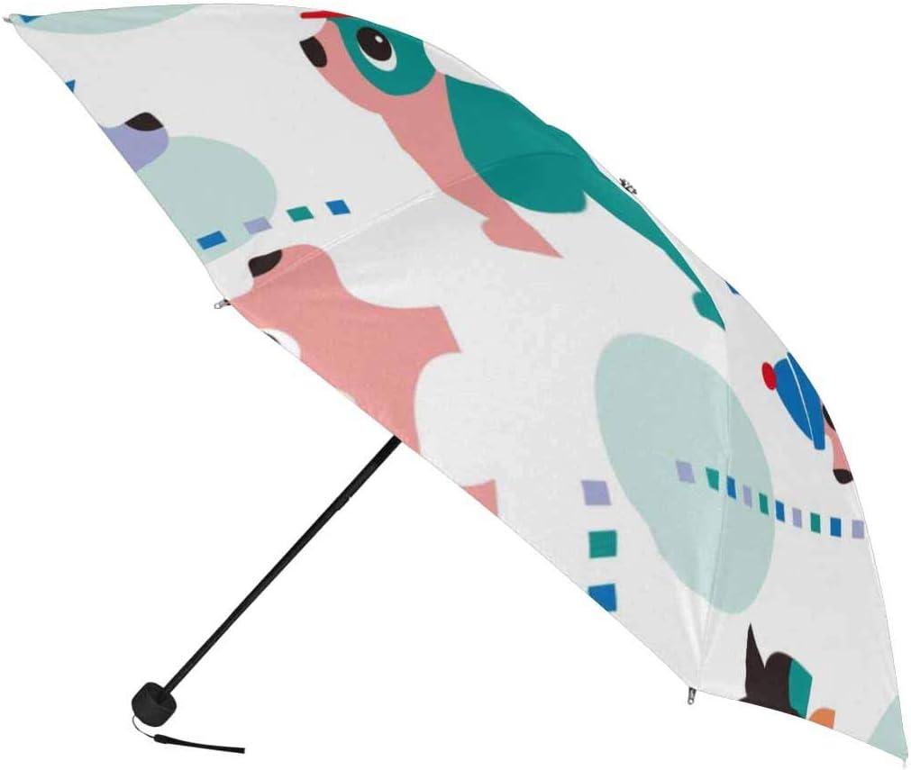 InterestPrint Custom Funny Dog Stripe Anti Sun UV Foldable Travel Compact Umbrella