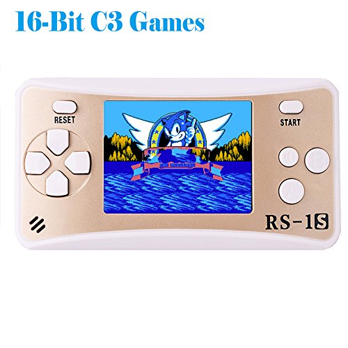 "Kids Handheld Game Console Retro Video Game Player Portable Arcade Gaming System Birthday Gift for Children Travel Recreation 2.5"" Color LCD Screen 16 Bit 168 Classic Games(White Gold)"