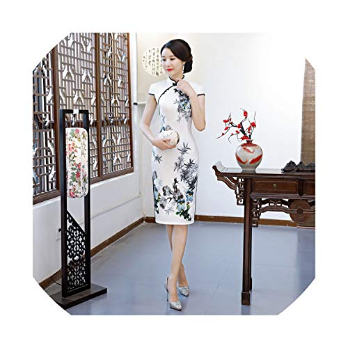 (New Female Summer Improved Silk Dress in The Long Section Double Cheongsam Girl Republic of Students,2298,XXL)