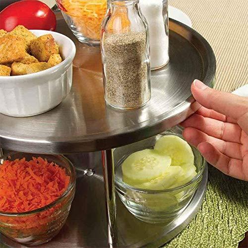 Porta spezie per barattoli e spezie Fablcrew a 2 Ripiani Portaspezie Girevole da Cucina Grande Piatto Girevole