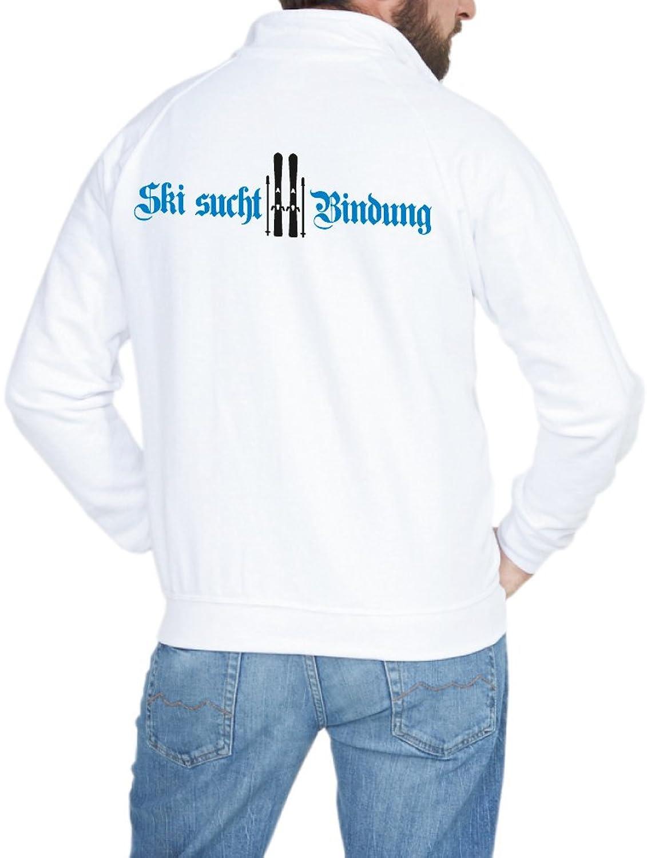 Herren Sweatjacke - Ski sucht Bindung, weiß
