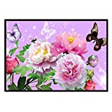 (US) CYCTECH DIY Colorful Butterfly Diamond Painting Cross Stitch Craft Kit Embroidery Paint-By-Diamond kits Dots Art Painting Wall Stickers for Living Room (F)