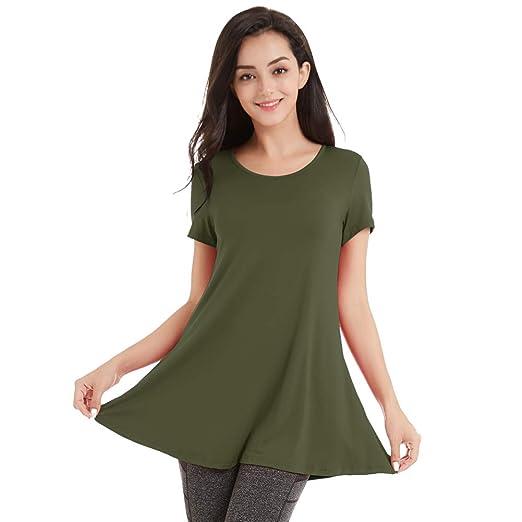 e15b2c22d74 Se Yo Women s Short Sleeve Tunic Round Neck T Shirt Flared Hem Shirt Comfy  Loose Fit