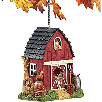 Collections Etc Hanging Country Red Barn Animal Birdhouse