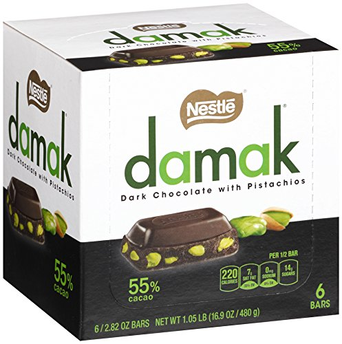NESTLE Damak Dark Chocolate with Pistachios, 2.82 Ounce (6 Bars)