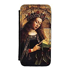 The Ghent Altarpiece - Virgin Mary by Jan van Eyck Premium Faux PU Leather Case, Protective Hard Cover Flip Case for iPhone 5C by Painting Masterpieces