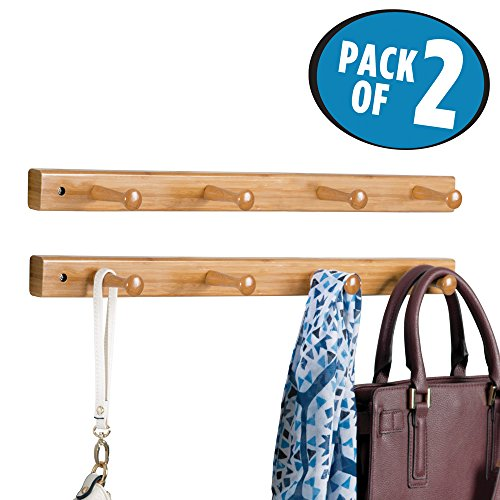 mDesign Wall Mount Entryway Storage Wood Rack for Jackets, Coats, Hats, Scarves - Pack of 2, 4 Pegs, Bamboo