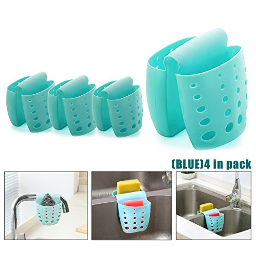 4PCS Sponge Sink Holder,Hanging Silicone Kitchen Gadget Storage Organizer,Baskets Drain Bag (blue) by IZTOSS