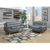GTU Furniture Contemporary Bonded Leather Sofa & Loveseat Set, 2 Piece Sofa Set (GRAY)