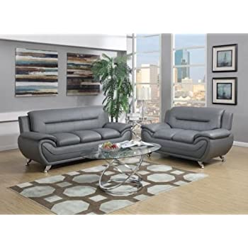 GTU Furniture Contemporary Bonded Leather Sofa Loveseat Set 2 Piece GRAY