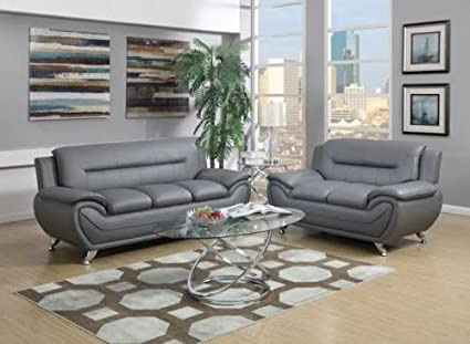 Superbe GTU Furniture Contemporary Bonded Leather Sofa U0026 Loveseat Set, 2 Piece Sofa  Set (GRAY
