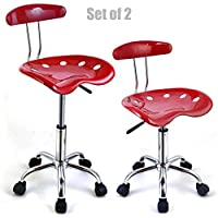 New Modern Adjustable Barstools ABS Tractor Seat 360 Degree Swivel Home Office Computer Dining Chair Red - Set Of 2 #1083
