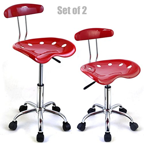 New Modern Adjustable Barstools ABS Tractor Seat 360 Degree Swivel Home Office Computer Dining Chair Red - Set Of 2 #1083 (Stools Sale Target Bar)