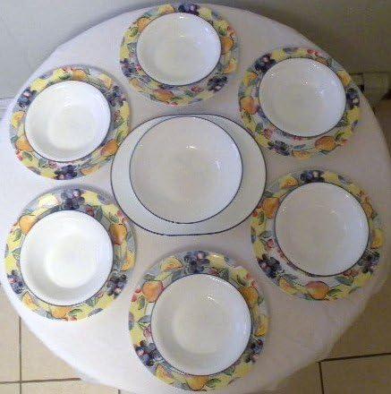 Amazon Com Vintage Corelle Coordinates Fruit Basket Pattern Dinnerware Set Six Place Setting 20 Piece Set Dinnerware Sets