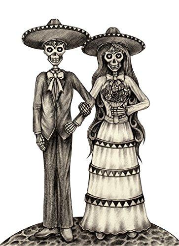 Dia De Los Muertos Bride and Groom Vinyl Decal Sticker (8