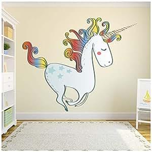 azutura Unicornio del Arco Iris Vinilos Cuento de Hadas Pegatina Decorativos Pared Dormitorio de Las niñas Decoración del hogar Disponible en 8 Tamaños XX-Grande Digital