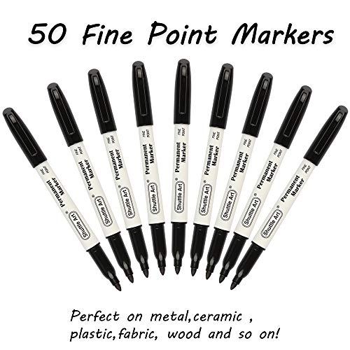 Permanent Markers,Shuttle Art 50 Pack Black Permanent Marker set,Fine Point, Works on Plastic,Wood,Stone,Metal and Glass for Doodling, Marking by Shuttle Art (Image #1)