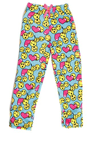 Pajama Pants Heart Fleece (Just Love Cute Character Plush Pajama Pants for Girls - Fleece PJs, Emoji Heart, Girls' 14-16)