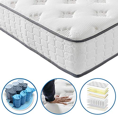 Twin Mattress - Vesgantti 9.6 Inch Innerspring Multilayer Hybrid Single Mattress - Ergonomic Design with Breathable Foam and Pocket Spring Mattress Twin Size - Tight Top Series Medium Plush Feel