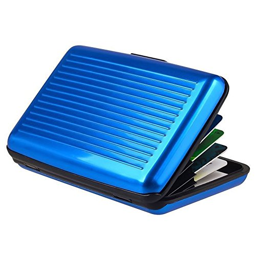 Business Aluminum RFID Card Holder Wallet, Metal ID Credit Card Loose Change Slot Case Organizer for Women, Men (Blue)