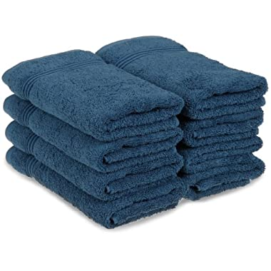 Superior Egyptian Cotton 8-Piece Hand Towel Set, Sapphire