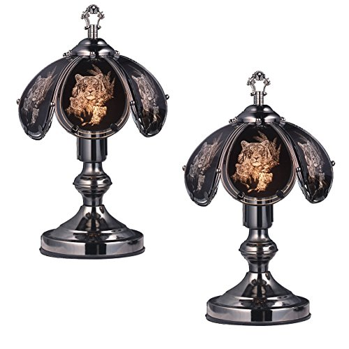 Black Chrome Touch Lamp - OK Lighting OK-603C-TI5 14.25-Inch Touch Lamp with Tiger Theme, Black Chrome (Set of 2 Pieces)