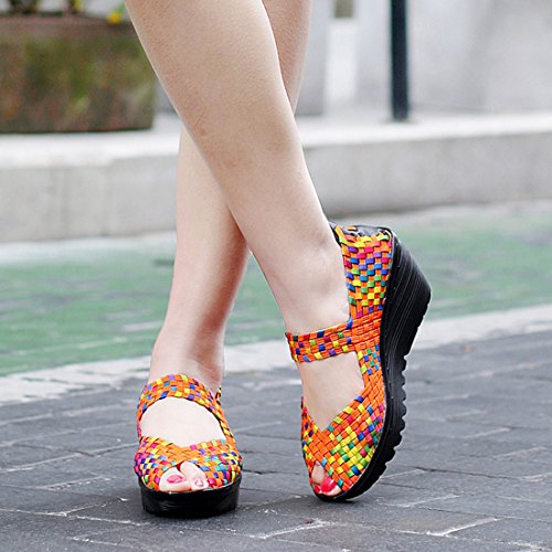 Jiyaru Women Woven Sandals Slip On Wedge Platform Peep Toe Weave Walking Shoes Orange 9CRgA3FX