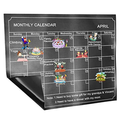 Skydue Magnetic Dry Erase Calendar Board, Monthly White Board Planner for Refrigerator, 15.8'' 11.8'', Black by Skydue