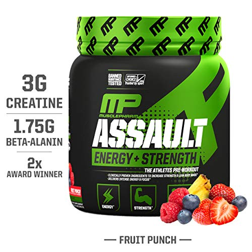 MusclePharm Assault Sport Pre-Workout Powder with High-Dose Energy, Focus, Strength, and Endurance with Creatine, Taurine, and Caffeine, Fruit Punch, Energy Drink Powder,30 Servings (Best Pre Workout For Endurance)