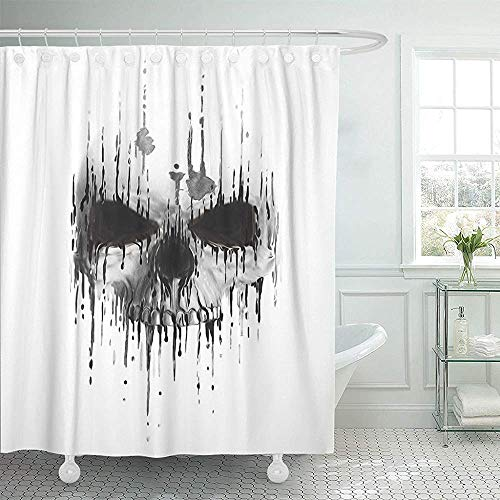 Fabric Shower Curtain Curtains with Hooks Tattoo Skull