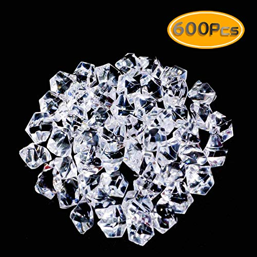 UPlama 600PCS Fake Crushed Ice Rocks, Acrylic Diamond Crystals Fake Diamonds Plastic Clear Ice Cubes Diamond Table Scatters Acrylic Gems for Vase Fillers Home Decoration Wedding Birthday (White)