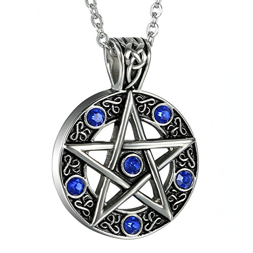 Oidea Mens Stainless Steel Hollow Vitnage Star Pentagram Pentacle Pendant Necklace,Pagan Wiccan Witch Gothic Pewter Chain -