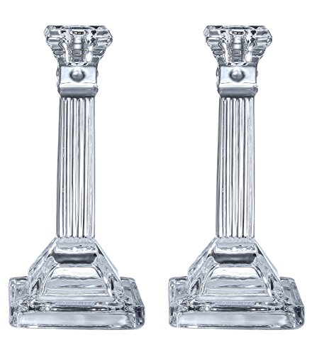 Tall Crystal Candlesticks - 2 Pack Set - Pair of 8 Inch Square Base Fluted Design Candle Holders - by Ner Mitzvah ()