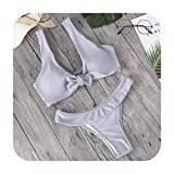 Swimwear Solid Bikini Sets Style Swimsuit Women's Beach Wear Bikinis Bathing Suit,GY,XL