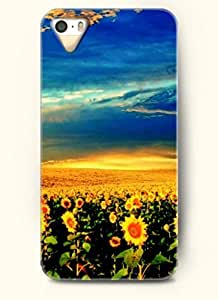 OOFIT phone case design with Ocean of sunflowers under the blue sky for Apple iPhone 4 4s