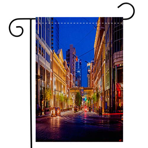 BEIVIVI Creative Home Garden Flag Main St Stores Banks Illuminated Salt Lake City Utah USA Garden Flag Waterproof for Party Holiday Home Garden Decor