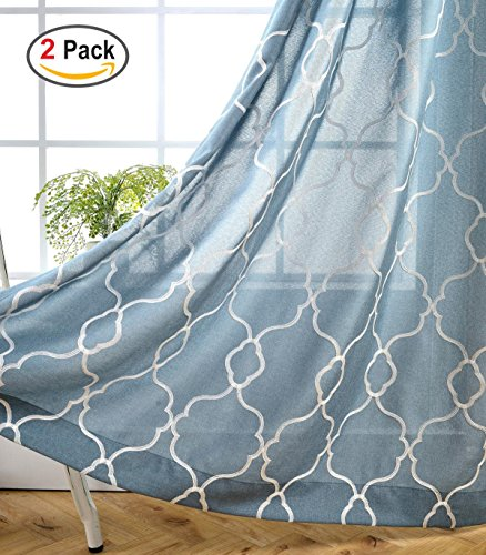 Miuco Moroccan Embroidered Semi Sheer Curtains Faux Linen Grommet Curtain Set for Bedroom 52 x 95 Inch, Dusty - 52 Blue