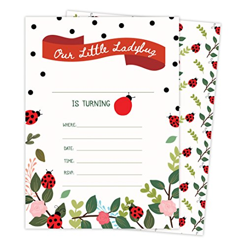 Lady Bug Happy Birthday Invitations Invite Cards (25 Count) with Envelopes and Seal Stickers Boys Girls Kids Party (25ct)